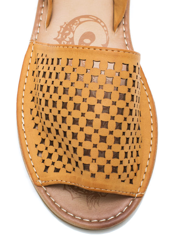 Latticed Screen Sling Back Sandals CHESTNUT
