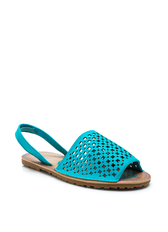 Latticed Screen Sling Back Sandals SEAFOAM