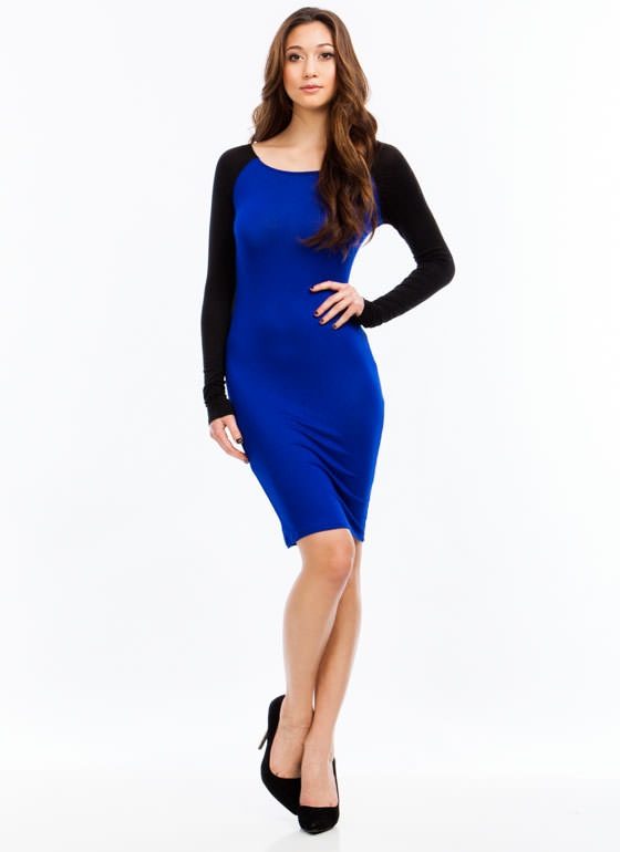 Go To Bat Raglan Midi Dress ROYAL