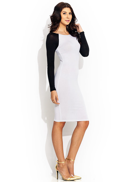 Go To Bat Raglan Midi Dress WHITE