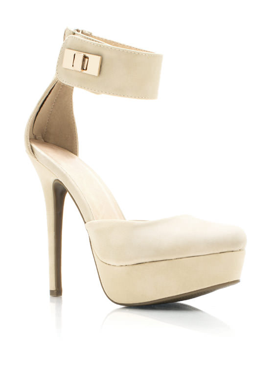 Locked Up Ankle Strap Platforms CAMEL