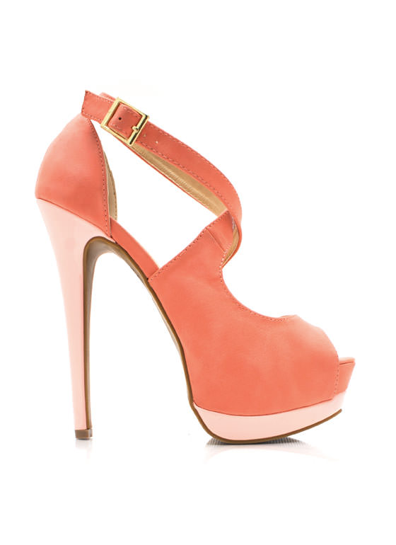 Glazy Days Cross Strap Platforms CORAL
