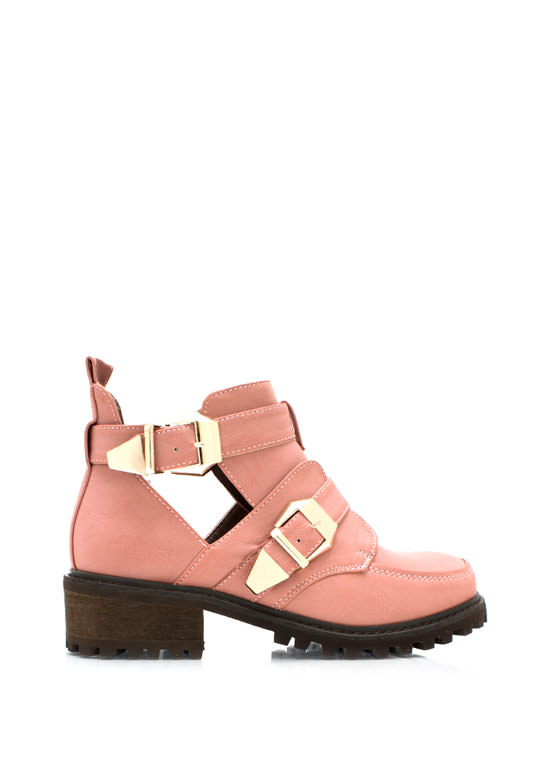 Tipped Off Strappy Cut Out Boots BLUSH