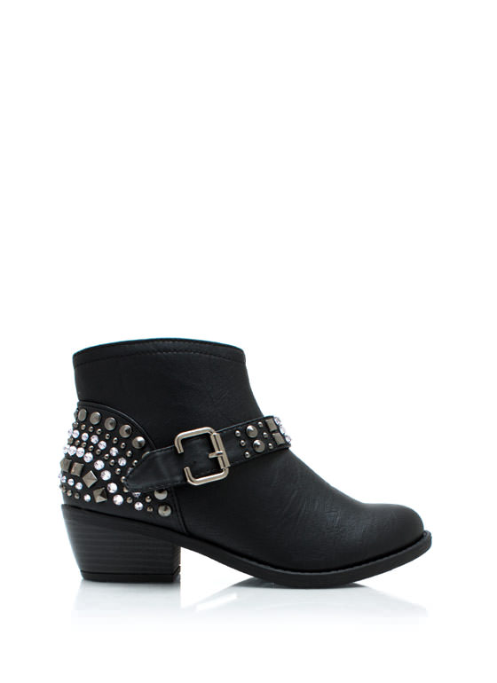 Embellish Me Studded Boots BLACK