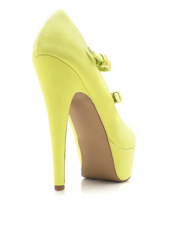 Double Up Faux Nubuck Platforms LEMONLIME