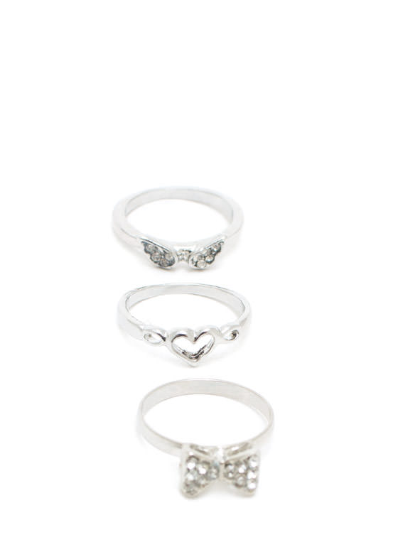 I Heart Girly Things Ring Set SILVER