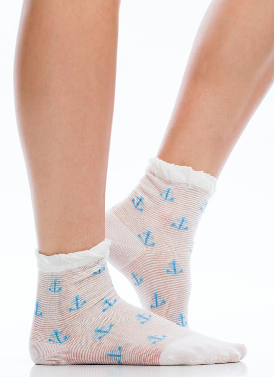 Anchors Away Metallic Stripe Socks WHITEBLUE