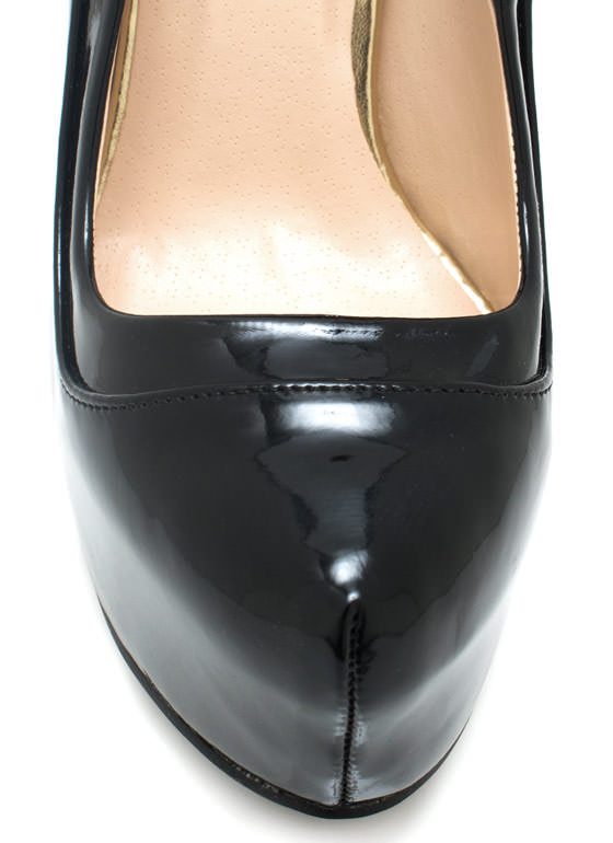 Piece Together Faux Patent Pumps BLACK