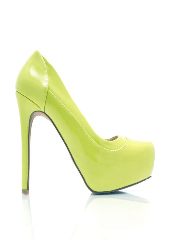 Piece Together Faux Patent Pumps LEMONLIME