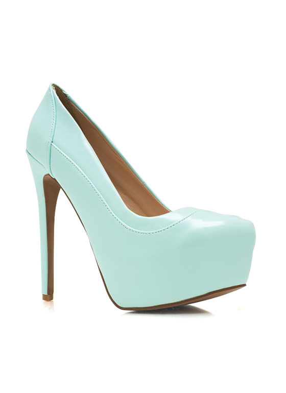 Piece Together Faux Patent Pumps MENTHOL