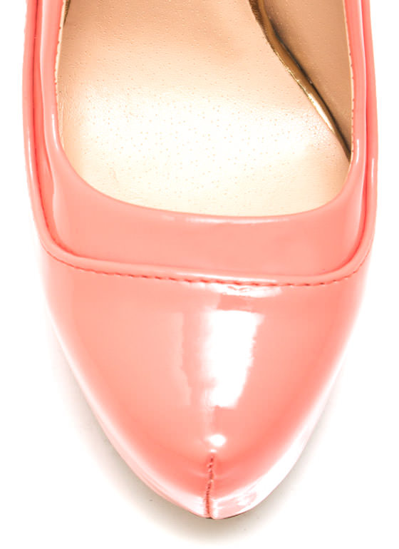 Piece Together Faux Patent Pumps SALMON