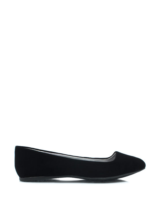 Point It Out Faux Nubuck Flats BLACK