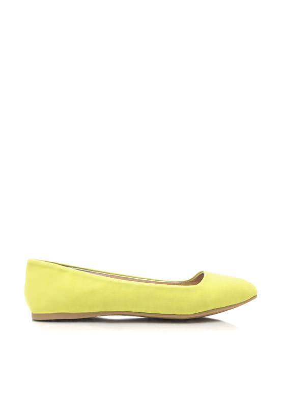 Point It Out Faux Nubuck Flats LEMON