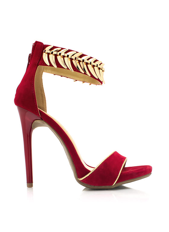 On The Spine Faux Suede Heels RED