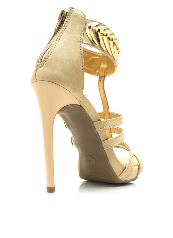 On The Spine Faux Nubuck Heels NUDE