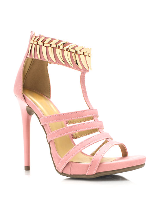 On The Spine Faux Nubuck Heels PINK