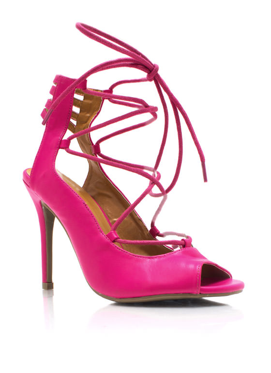 Tied Up Laddered Heels FUCHSIA