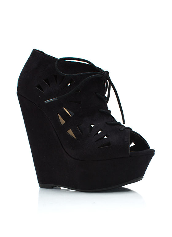 Fan Out Faux Suede Bootie Wedges BLACK