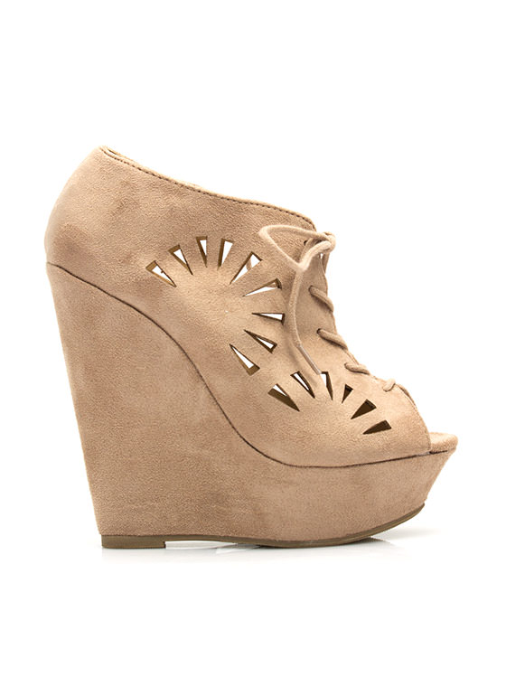 Fan Out Faux Suede Bootie Wedges LTTAUPE