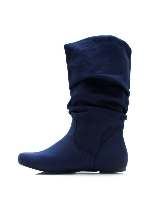 Slouched Over Faux Suede Boots NAVY
