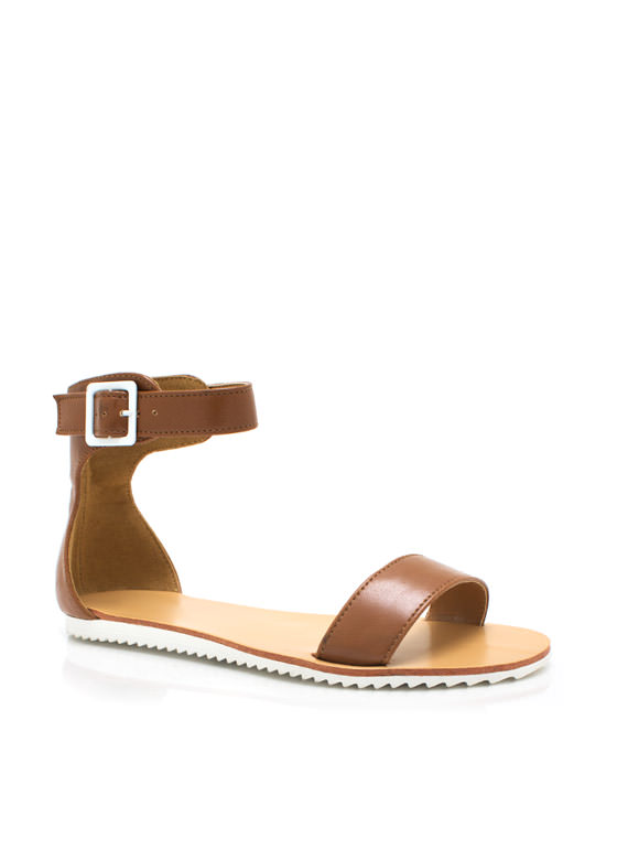Single Band Flat Sandals COGNAC