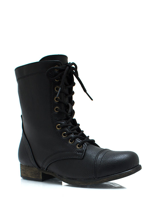 Pebbled Faux Leather Boots BLACK