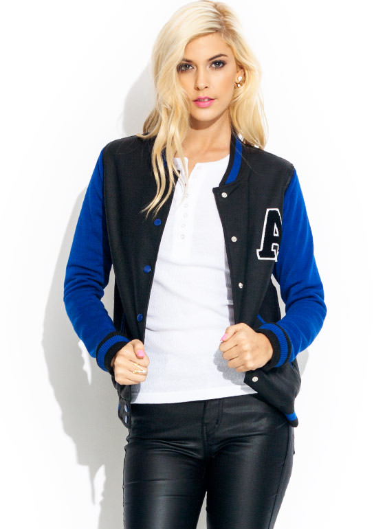 Game Night Lettermans Jacket ROYALBLACK