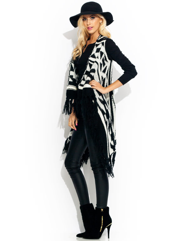 Tribal Fringe Sweater Vest BLACKWHITE
