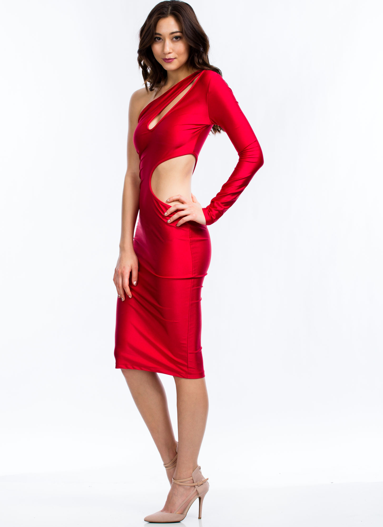 Cut It Out One Shoulder Dress RED