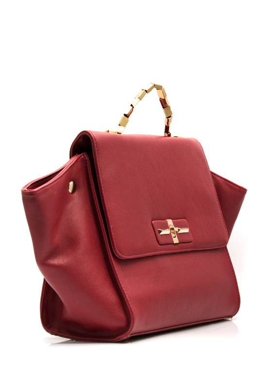 Structured Build Faux Leather Purse RED