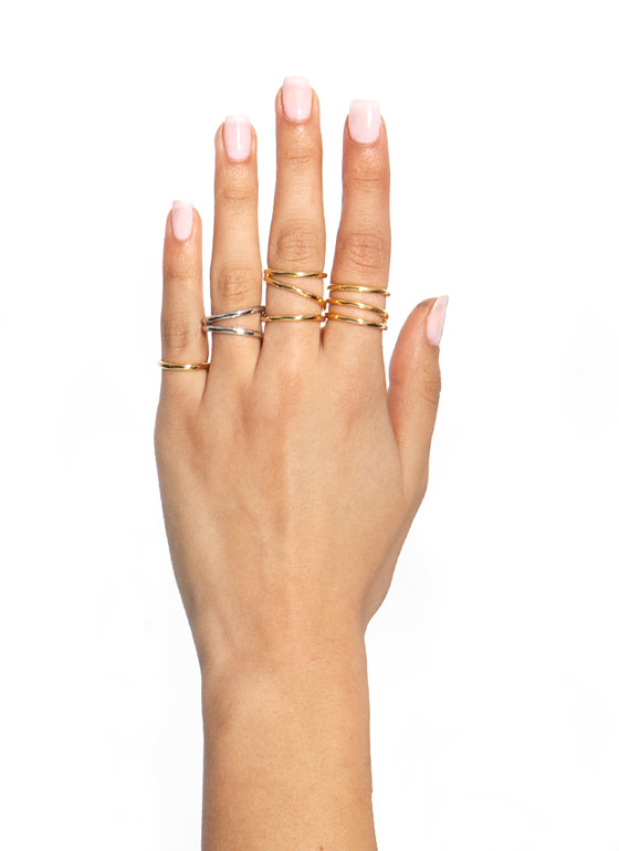 Curved Contours Ring Set GOLD