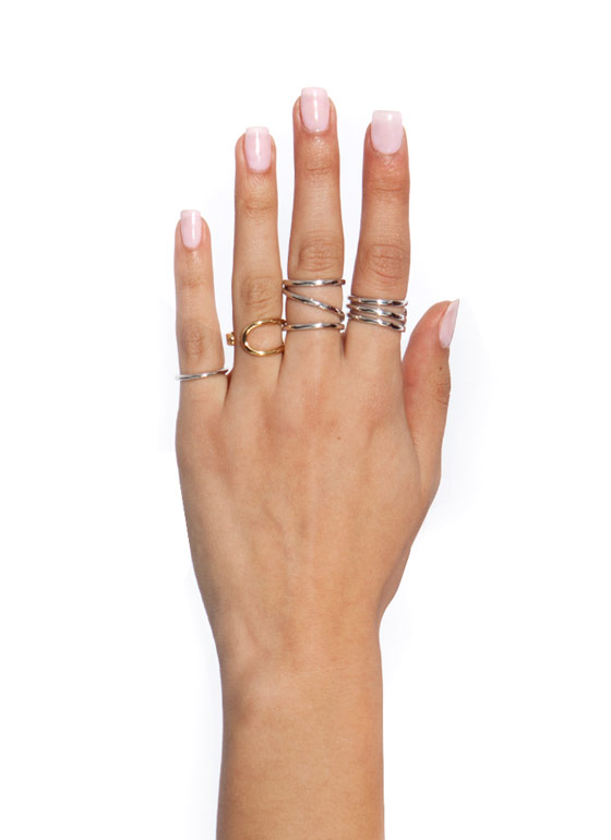Curved Contours Ring Set SILVER