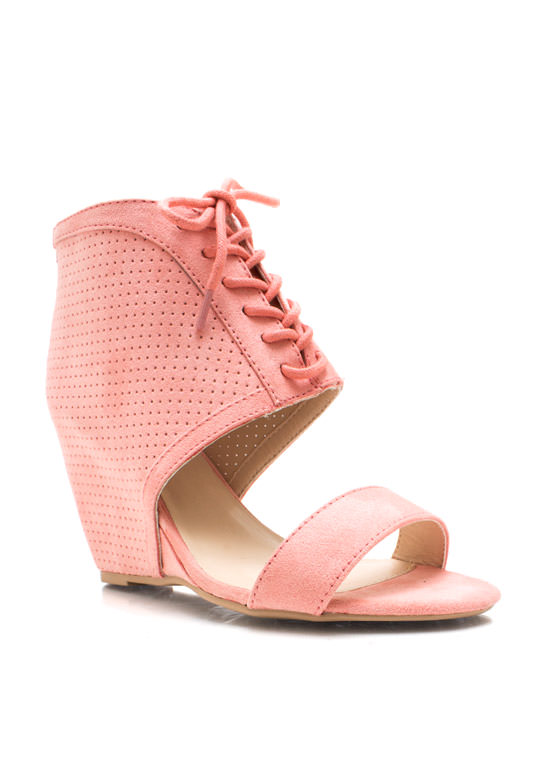 Perforated Open Toe Wedges SALMON