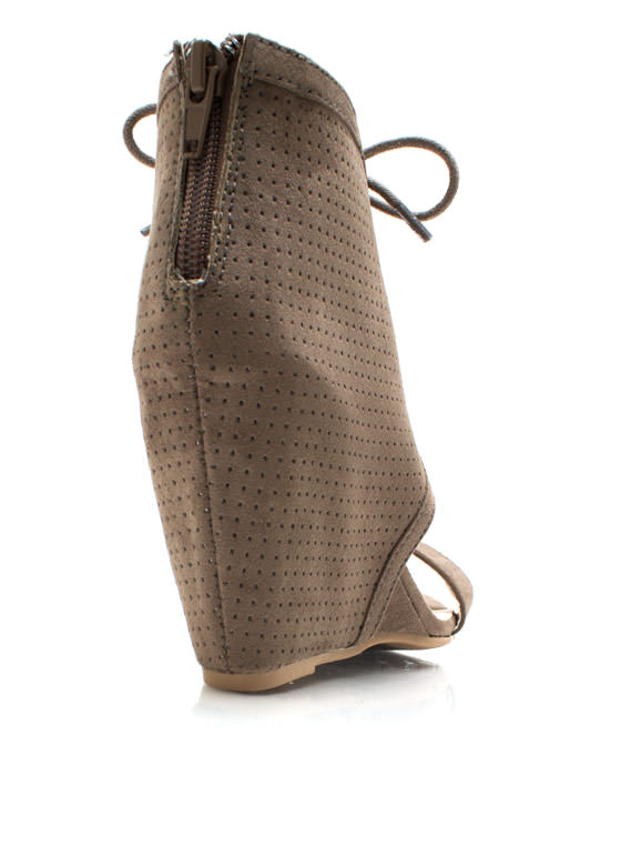 Perforated Open Toe Wedges TAUPE