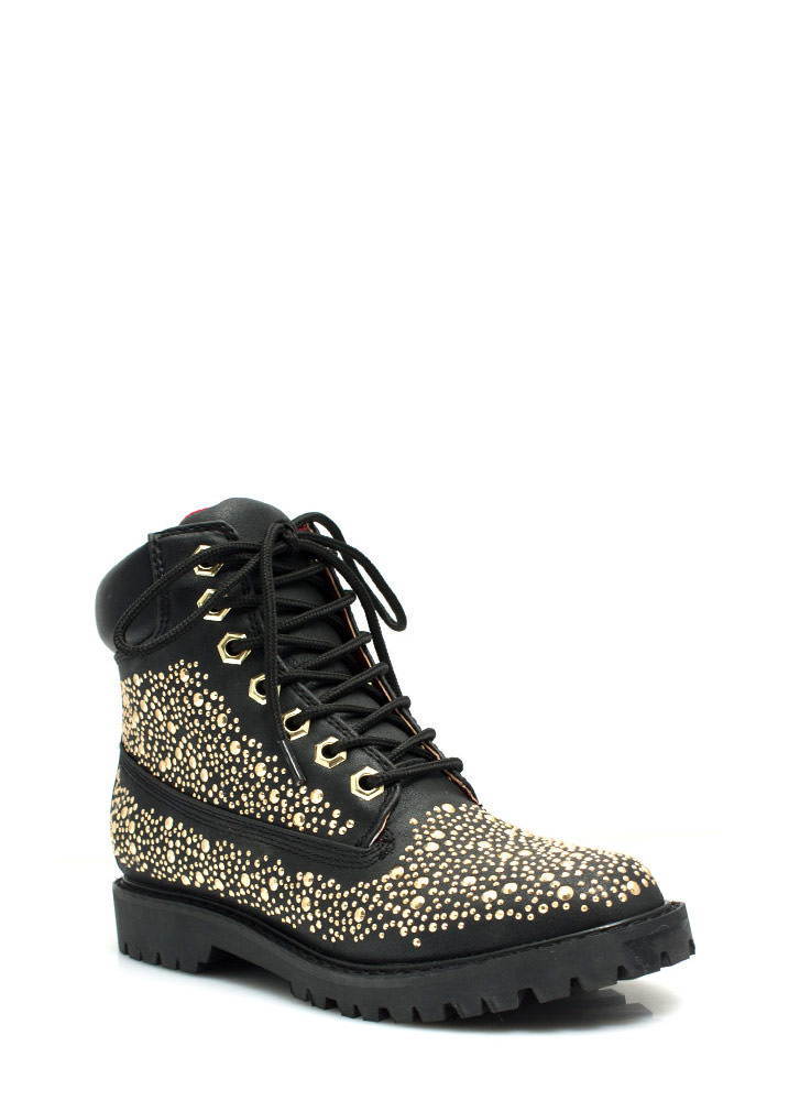 Jewel Miner Embellished Hiking Boots BLACK