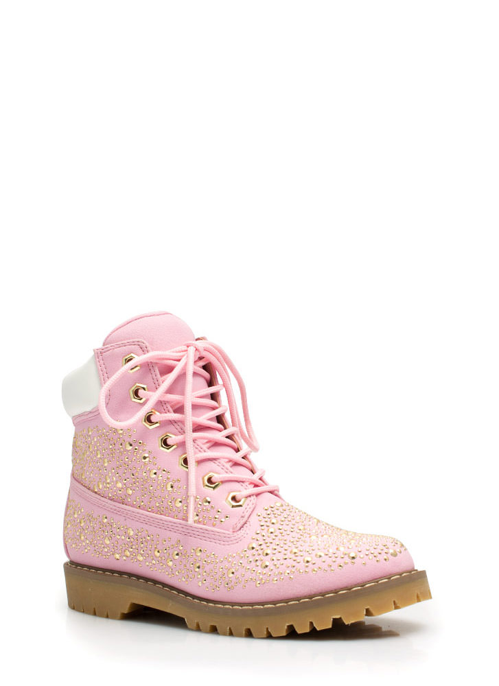 Jewel Miner Embellished Hiking Boots PINK