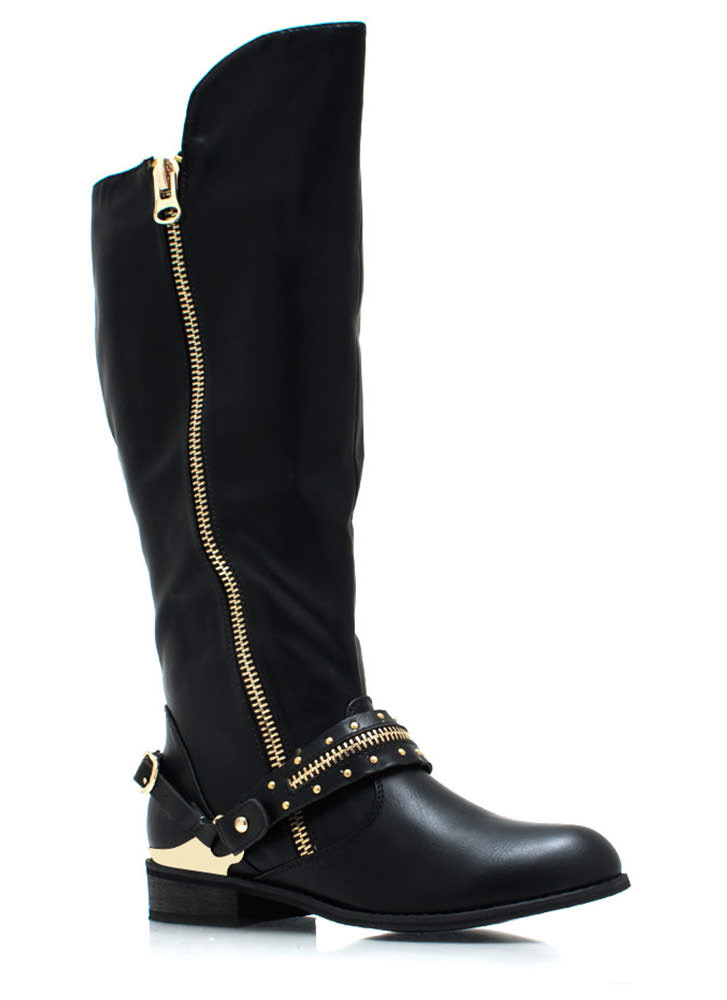 Spur You On Zippered Boots BLACK