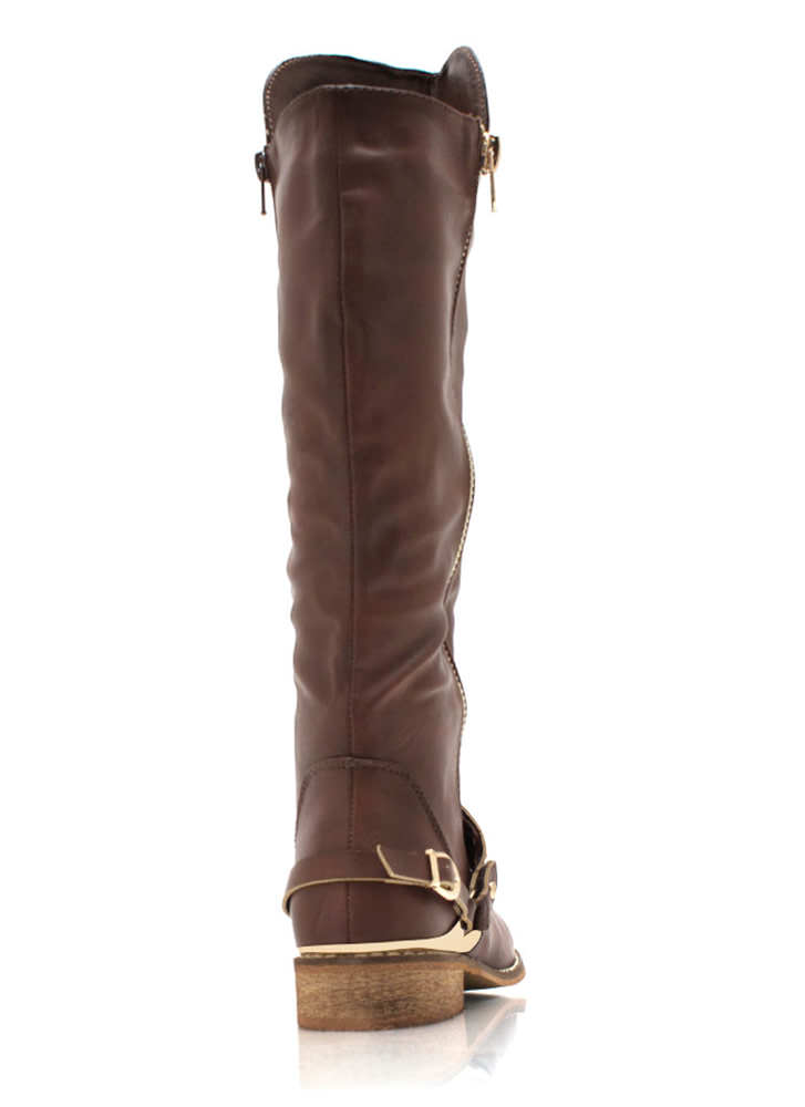 Spur You On Zippered Boots BROWN