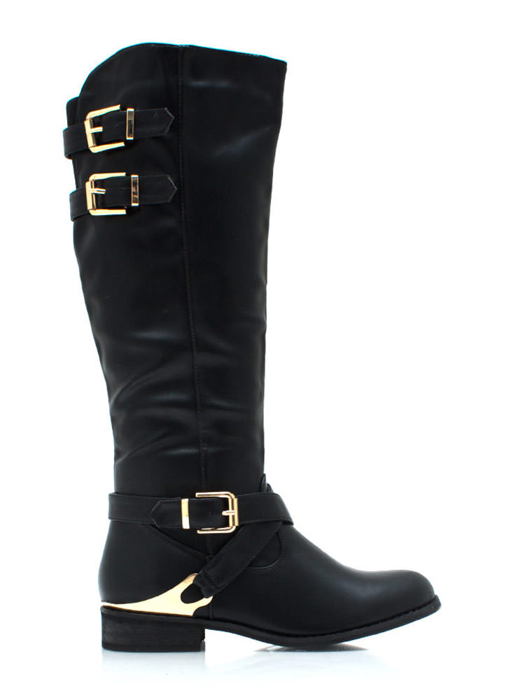 Spur You On Buckled Boots BLACK