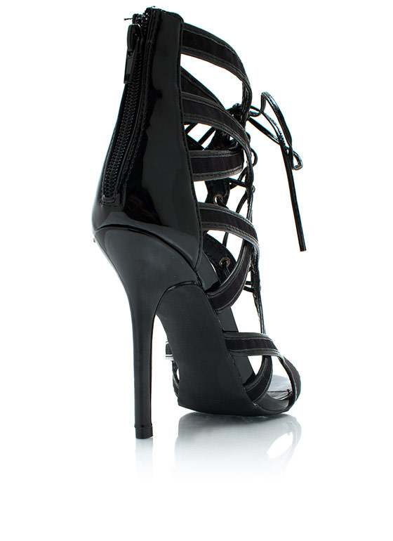 Loop Before You Leap Laced Heels BLACK