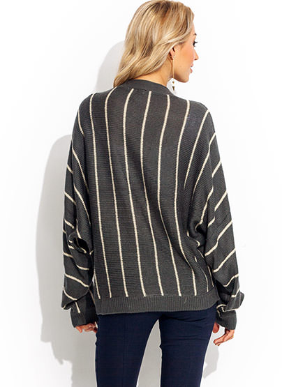 Striped Dolman Grandpa Cardigan CREAMGREY
