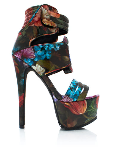 Painted Blossoms Strappy Heels FLORAL