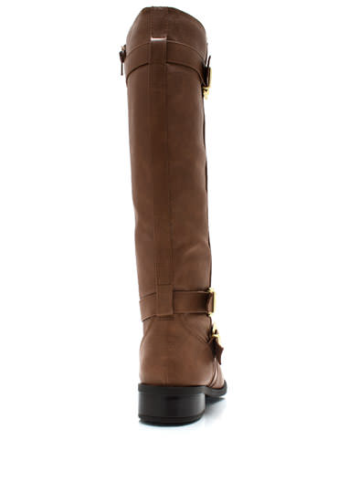 Three Rein Tall Buckled Boots BRICK