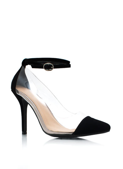 Clear 2 Me Cap Toe Heels BLACK