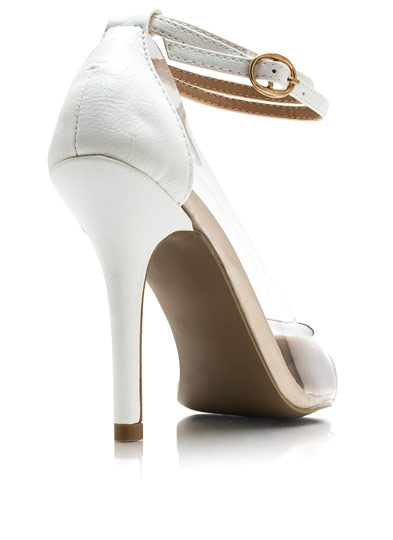Clear 2 Me Cap Toe Heels WHITE