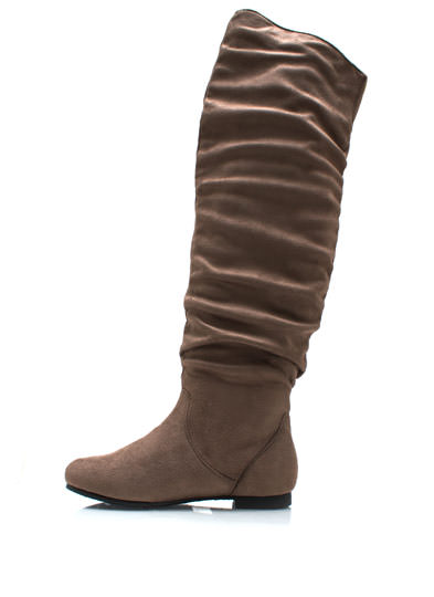 Over-The-Knee Faux Suede Flat Boots TAUPE