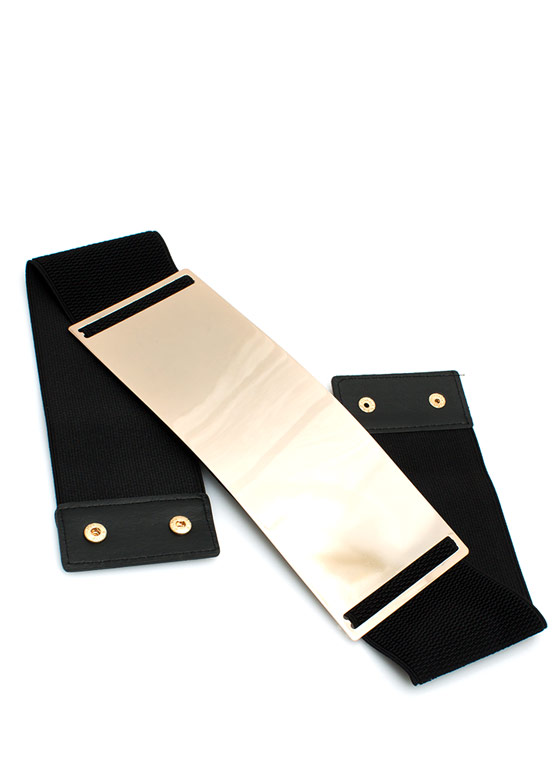 Super Thick Metal Plate Belt GOLDBLACK