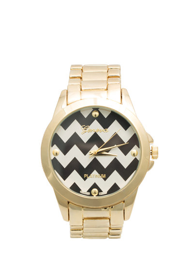 Zigzag Face Boyfriend Watch BLACKGOLD
