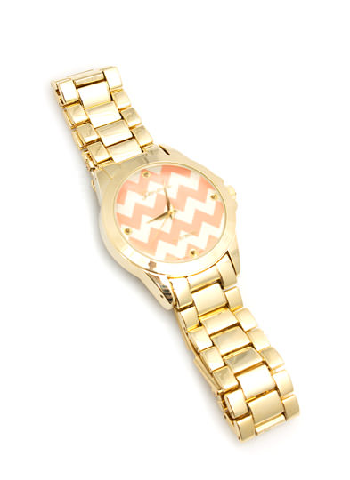 Zigzag Face Boyfriend Watch CORALGOLD