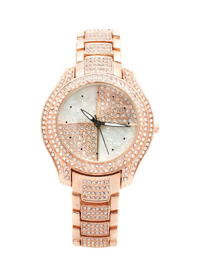 Loaded Bling Embellished Watch ROSEGOLD